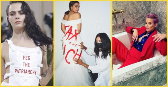 mujeres envian mensajes politicos en vestidos de la met gala 2021