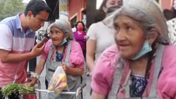 abuela vende manzanas en la calle