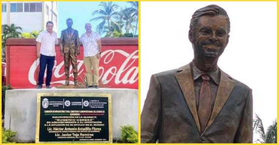 develan estatua de eugenio derbez en acapulco y se indignan en redes sociales
